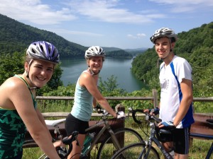 getting closer with friends on a bicycle vacation